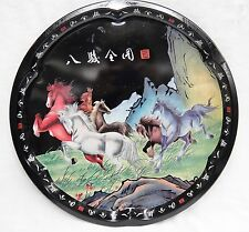 """MTM Elite Metal Tray 16.5"""" Round Black w Horses Asian Characters Made in England"""
