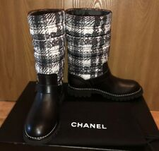 NIB AUTHENTIC CHANEL Rain/Snow Boots Tweed Pattern Shoes Long Boots Sz. 39.5