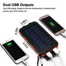 20000mAh Solar Power Bank External Backup Battery Dual USB Port with 2 LED Light