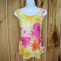 Dress Barn Sleeveless Blouse Womens Size L Yellow Pink Multicolor Floral PRETTY!