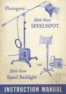 Photogenic Little Giant Speedspot & Backlight Instruction Manual Original
