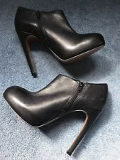 CARVELA BLACK LEATHER BOOTS KILLER STILETTO  HIGH HEEL ANKLE ZIP UK 7 EU 40 NEW