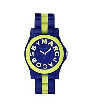 NEW MARC JACOBS BLUE+GREEN ACRYLIC+SILICONE RIVERA CRYSTALS DIAL WATCH-MBM4555