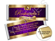 Royal Baby Prince Boy Candy Bar Wrappers/Purple & Gold-Baby Shower/New Baby 12ct