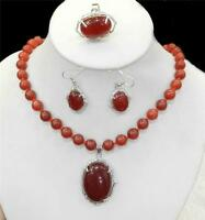 Natural Charming Red Ruby Gemstone Necklace Ring Earring Jewelry Sets