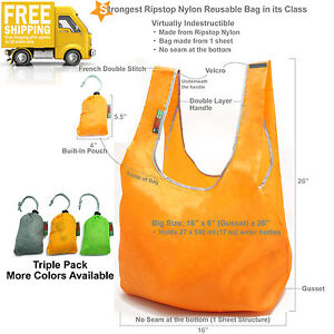 EcoJeannie Ripstop Nylon Foldable Super Strong Reusable Bag Grocery Tote   3 PK