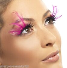 Ladies Long Pink Feather False Eyelashes Burlesque Drag Queen Hen Do Fancy Dress