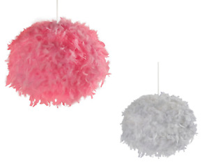 Pink/Grey Round Feather Ball Easy Fit Pendant Light Shade D50cm RRP £32