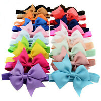 KE_ Cute Bowknot Bow Solid Color Baby Girl Toddler Kids Headband Hair Band Int