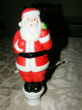Vintage Christmas Santa Plastic Lighted Blow Mold Tree Topper Union Products