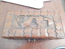 Vintage - Hand-carved wooden Jewellery/Trinket Box - Deceased Estate