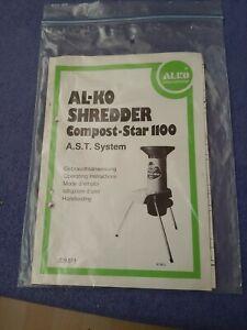 ALKO Schredder Häcksler Compost Star 1100 Gebrauchsanweisung Teileliste