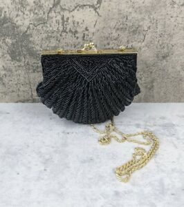 Vintage 1950's La Regale Clamshell Black Glass Beaded Evening Bag Purse Clutch