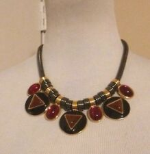Vintage Yves Saint Laurent YSL RARE Black & Gold Choker Necklace with CABOCHONS