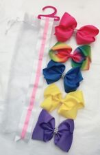 5 Girls Huge Big Hair Bow Set with Bow Holder & Gift Bag - Rainbow Yellow Pink