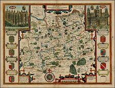 John Speed Map of Surrey 1610, 6x5 Inch Photo Reprint