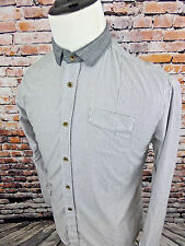 Descendant of Thieves Men's Button Front Shirt Gray White Stripes Size XL Cotton