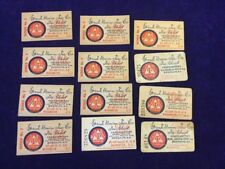 12 Vintage Grand Union Tea Co Store Tea Check Redeption Coupon Lot 2 STYLES   A1