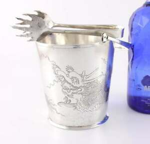 Chinese Silver Hammered Dragon Ice Bucket Pail & Tongs. Tack Hing c1920 Antique
