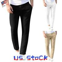 Men's Classic Pants Slim Fit Elastic Waist Trousers Casual Pocket Work School US