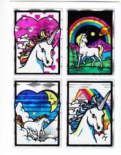 Vintage 80's Prism Unicorn Quad Sticker Sheet - Prismatic Rainbow Fantasy Moon