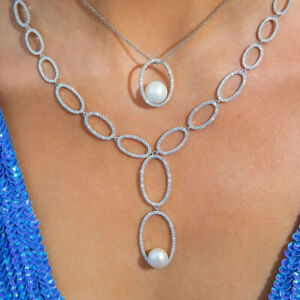 RRP $628 Auth APM  MONACO Sterling Necklace w ZIRCONS & FRESHWATER PEARL Pendant