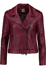 $1.2K HAUTE HIPPIE Burgundy Leather Biker Jacket Size Large NWOT