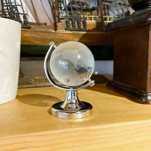 Mini Round Earth Crystal Glass Ball World Globe Art Craft Home Office Desk Decor