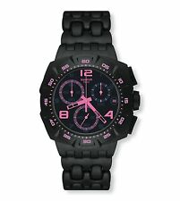 New Swatch Black Dunes Chronograph Date Acrylic Band Watch 44mm SUIB410 $120