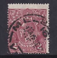 G525) Australia 1926 KGV 2d Red-brown SM wmk perf 14, punctured 'OS' BW 98ba