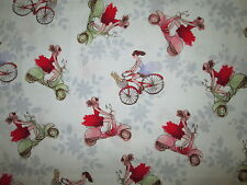 VESPA SCOOTERS  BICYCLES FLOWERS WHITE COTTON FABRIC FQ