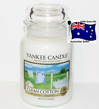 YANKEE CANDLE ** Clean Cotton **150 BURNING HOURS * LARGE GLASS JAR