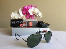 New Ray Ban RB 3030 L9500 G-15 Sunglasses AVIATOR OUTDOORSMAN Black  Glass Lens