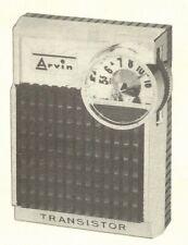1963 Arvin 1.66101 1.66102 Radio Service Manual Schematic Repair Photofact