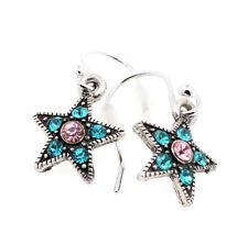 PILGRIM Earrings STAR Charm Silver Turquoise Blue Pink Swarovski Crystal BNWOT