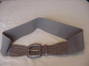 NEW YORK & CO WIDE GRAY STRETCH BELT SIZE L/XL FAUX CROC EMBOSSED NWOT