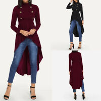 ZANZEA Women Long Sleeve Swing Shirt Tops Asymmetrical High Low Blouse Plus Tops