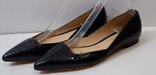 ALEXANDRE BIRMAN Black Python Embossed Leather Flat Ballerina Pumps EU38 UK5
