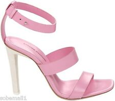 Costume National Pink Leather Triple Strappy Sandals Size 8 US/38 EU