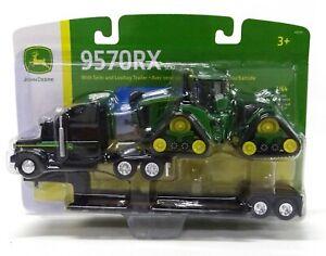 ERTL 1:64 John Deere Black Peterbilt Semi w/LOWBOY & 9570RX Tracked Tractor NIB!