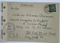 1947 GELTING GERMANY COVER TO USA, BRITISH CENSORSHIP 0947, OPENED BY SEAL