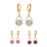 Fashion drop round pink crystal yellow gold filled womens dangle hoop earrings
