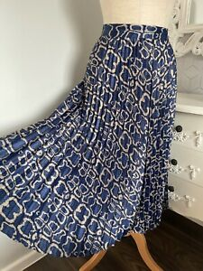 Marks & Spencer Blue Snake Print Satin Concertina Pleat Skirt Size 12