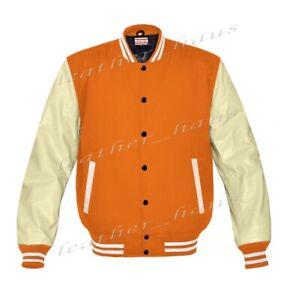 Original American Style Genuine Leather Varsity Letterman College Men Jackets 2X
