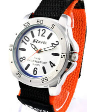 Ravel Mens Youths Surfer Watch 5ATM Water Resistant Fast Fit Orange Black Strap