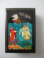 Russian Mstera Lacquer Box Hand Painted Signed Titled Vintage 644B