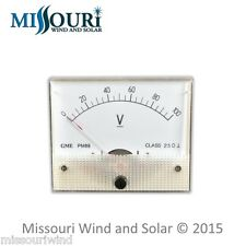 DC 100 VOLT Analog Meter for Wind Turbine Generator Solar Panel RV Marine Auto
