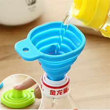 Kitchen Home Mini Food Grade Silicone Folding Telescopic Funnel Blue 1PC AU