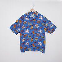 Big Dog Mens 2XL XXL Blue Chilli Dog Hawaiian Button Up Shirt