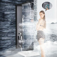 Brushed Black Shower Panel Tower Rain Waterfall Massage Body System Jet Sprayer